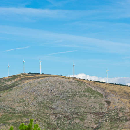 Modern Wind Turbines Producing Energy in Portugal photo