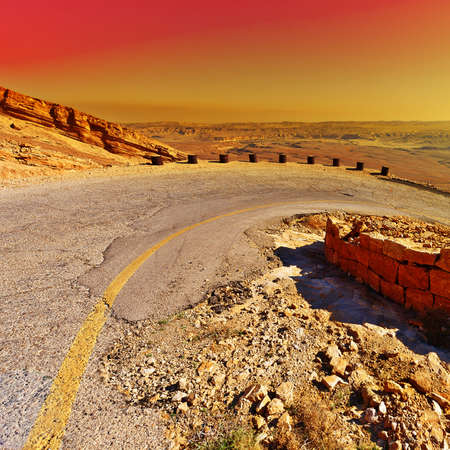 judean hills: Meandering Road in Sand Hills of Judean Mountains, Sunset.