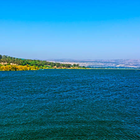 galilee: View from Galilee Mountains to Galilee Sea, Kinneret Stock Photo