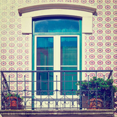 Window Decorated with Portuguese Ceramic Tiles photo