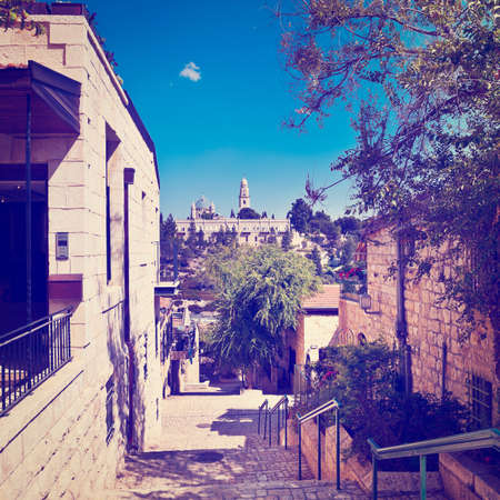 Area of the Old Restored Jerusalem on a Sunny Day photo