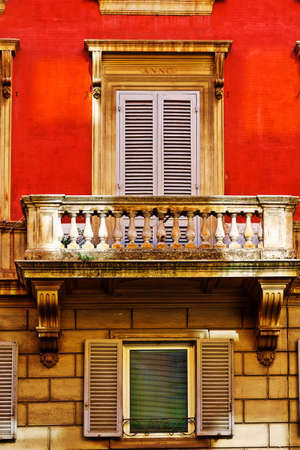 Facade of the Old Italian House with Balcony in Rome