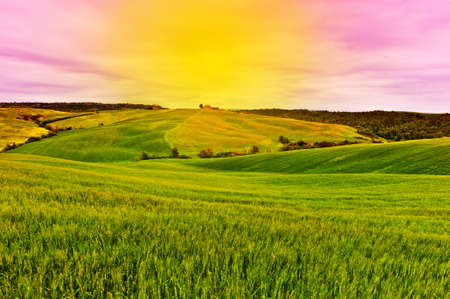 sloping: Farmhouse and Green Sloping Meadows of Tuscany at Sunset