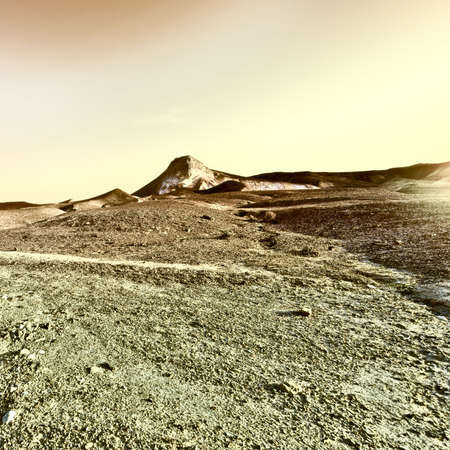 Sunset over the Stony Desert in Israel, Vintage Style Toned Picture photo