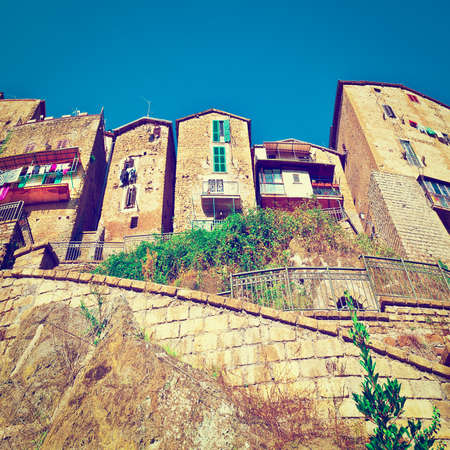 the view from below: View from Below of the Medieval Italian City,  Stock Photo