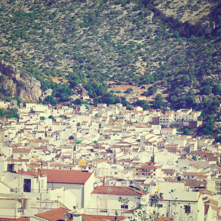 birds eye: Birds Eye View on the White Spanish City of Ubrique, Instagram Effect Stock Photo