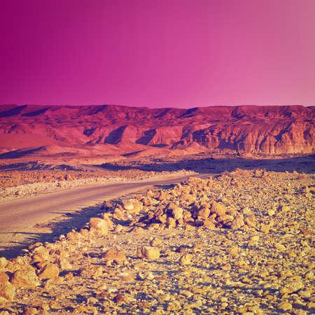 judean hills: Meandering Road in Sand Hills of Judean Mountains, Sunset, Instagram Effect