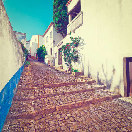 Narrow Street in the Medieval Portuguese City of Obidos photo