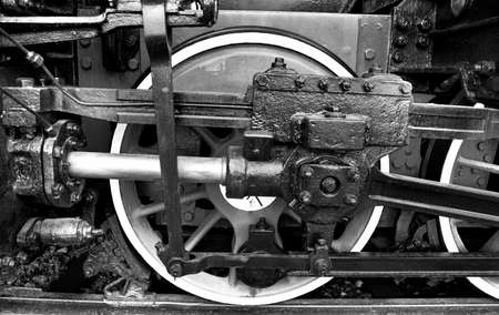connecting rod: Steam Locomotive Crank and Connecting Rod, Retro Image Filtered Style