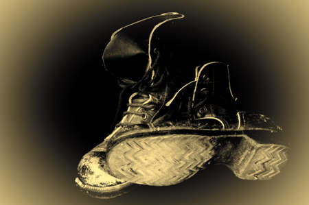 military boots: Pair of Old, Well Worn, Military Boots, Retro Image Filtered Style