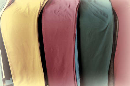 Colored Pants on the Counter for Sale, Retro Image Filtered Style photo