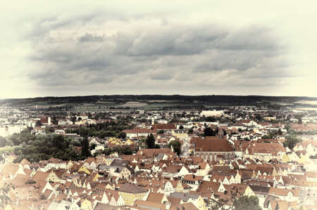 landshut: Aerial View on the Bavarian City of Landshut in Germany, Retro Image Filtered Style