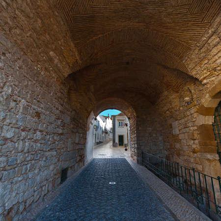 portuguese: Loggia in Medieval Portuguese City Stock Photo