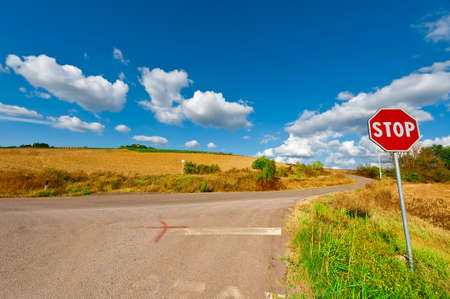 Road Stop Sign before the Intersection in Tuscany, Italy photo