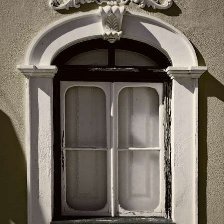 resplendence: Portuguese Window in the Style of Manueline, Vintage Style Toned Picture Stock Photo