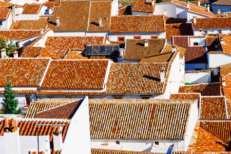 birds eye: Birds Eye View on the Red Tiles of the Spanish City of Grazalema Stock Photo