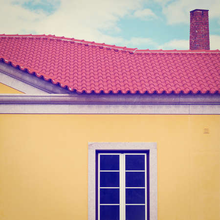 resplendence: The Renovated Facade of the Old Portugal House, Instagram Effect Stock Photo