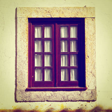 resplendence: Window on the Facade of the Old Portugal House, Instagram Effect