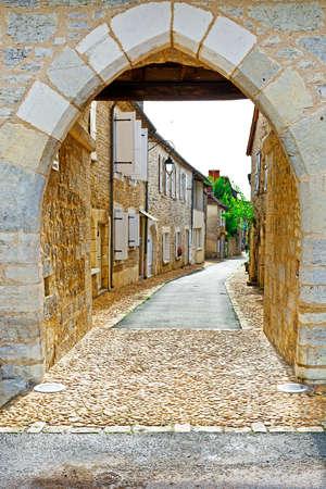 renewed: Deserted Street of the French City in Lemousin