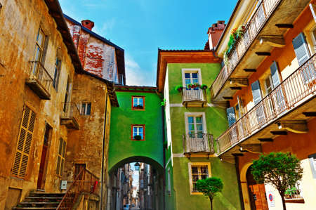 italy street: Architecture of the Medieval Piedmont City of Cuneo in Italy