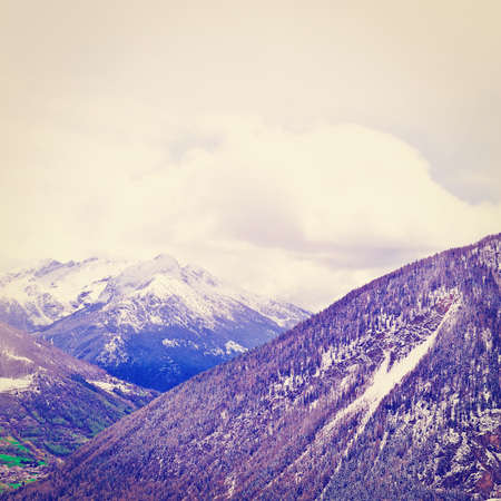 landscape rural: Saint Bernard Pass in the Italian Alps Stock Photo