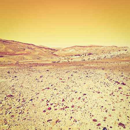 nature reserves of israel: Rocky Hills of the Negev Desert in Israel at Sunset, Instagram Effect