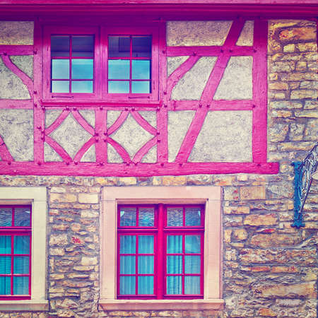 resplendence: The Renovated Facade of the Old Swiss House, Instagram Effect Stock Photo