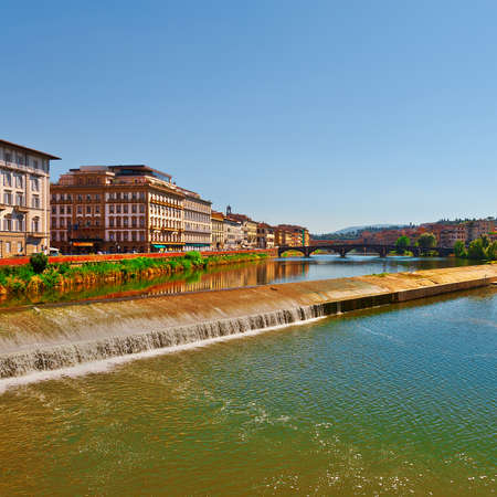 river arno: Embankment of the River Arno in the Italian City of Florence