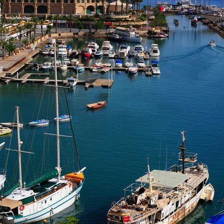 eilat: Marina with Docked Yachts in Eilat, Israel