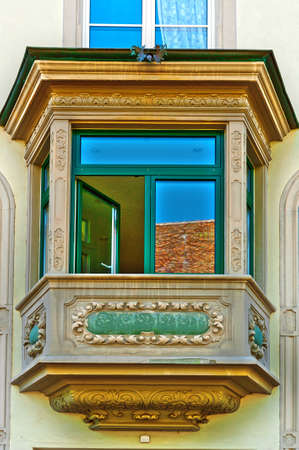 resplendence: Bay Window on the Renovated Facade of the Old Swiss House