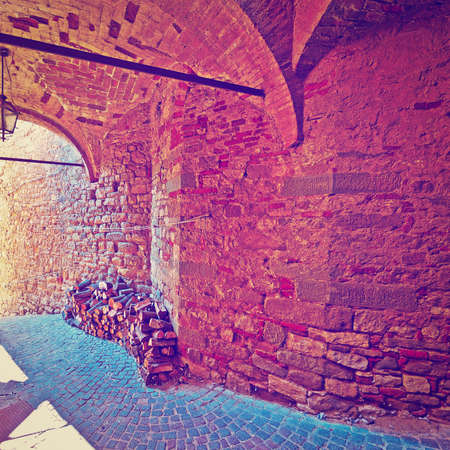 vaulted ceiling: Vaulted Ceiling of the Old Street in a Italian  Medieval City, Instagram Effect