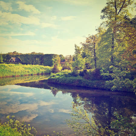 greenwood: Greenwood on the Canal Bank in the Netherlands, Instagram Effect Stock Photo