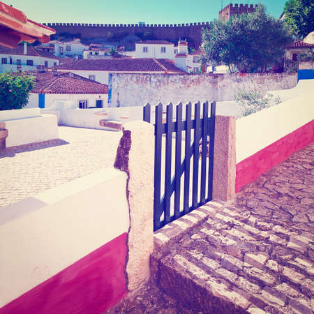 wicket door: Wicket in the Fence in the Historic Center City of Obidos, Portugal