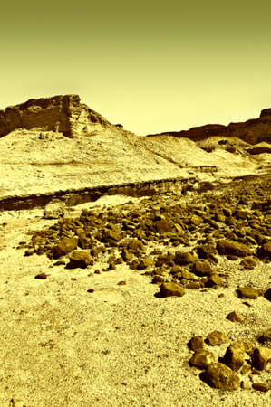 judean hills: Canyon in the Judean Desert on the West Bank, Vintage Style Toned Picture