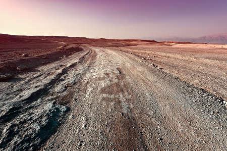 desierto: Puesta de sol sobre el desierto de piedra en Israel, Style Vintage Imagen virada