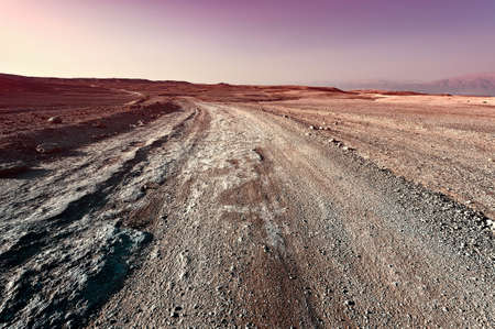 desert road: Sunset over the Stony Desert in Israel, Vintage Style Toned Picture