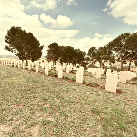 military cemetery: Canadian Military Cemetery in Sicily, Italy, Retro Image Filtered Style
