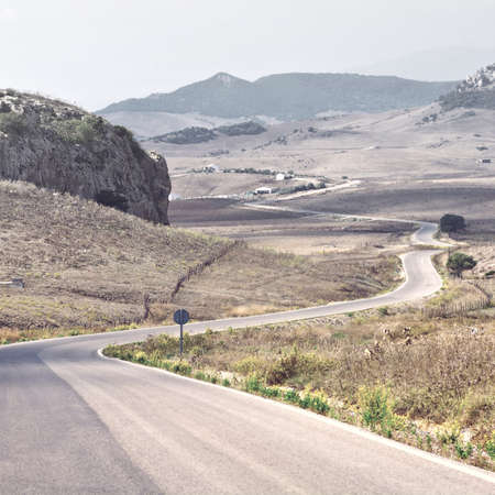 winding road: Winding Paved Road in the Cantabrian Mountain, Spain Stock Photo