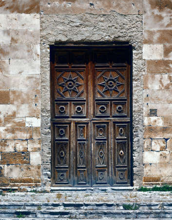 Stock Photo   Wooden Ancient Italian Door In Historic Center Of Palermo,  Vintage Style Toned Picture