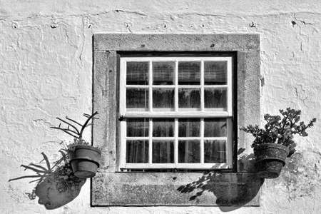 resplendence: Window of Portuguese Home Decorated with Flower, Retro Image Filtered Style