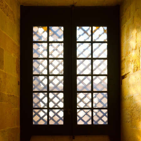 castings: Window in the Templar Church in the Portugal City of Tomar