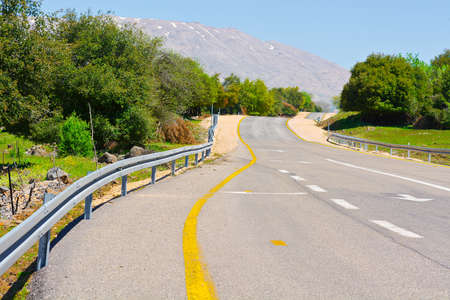 the golan heights: Asphalt Road on the Golan Heights in Israel