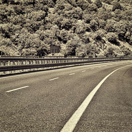 apennines: Highway in the Italian Apennines, Retro Image Filtered Style Stock Photo