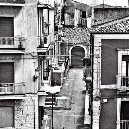 ragusa: View to Historic Center City of Ragusa in Sicily, Vintage Style Toned Picture