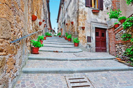 Staircase of the Narrow Street with Old Buildings in the Medieval Italian City