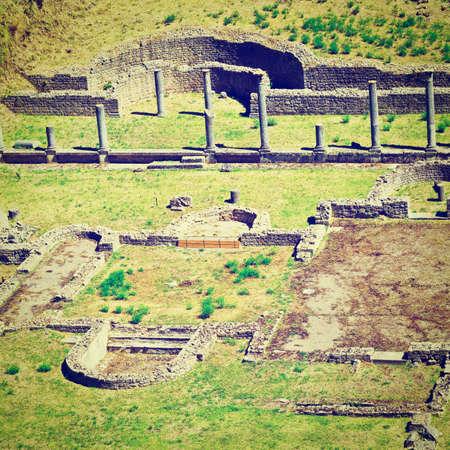 volterra: Antique Roman Theater in Tuscan City of Volterra, Italy Stock Photo