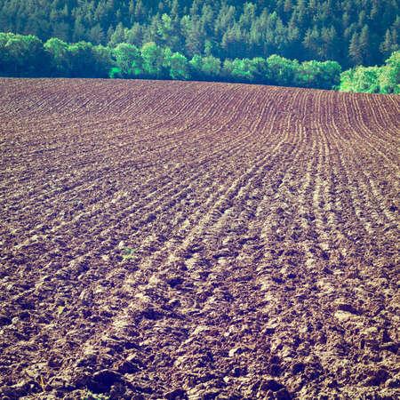 plowed: Plowed Sloping Hills in France after Harvesting