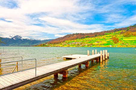 mooring: Wooden Mooring Line on the Lake Sarner in Switzerland