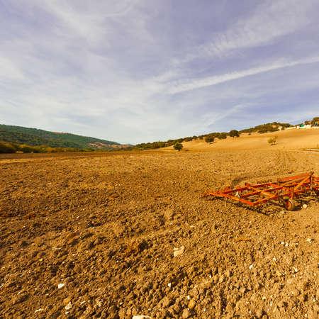 harrow: Landscape with Harrow on the Plowed Field in Spain