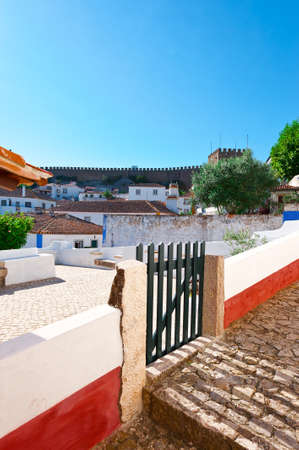 wicket: Wicket in the Fence in the Historic Center City of Obidos, Portugal